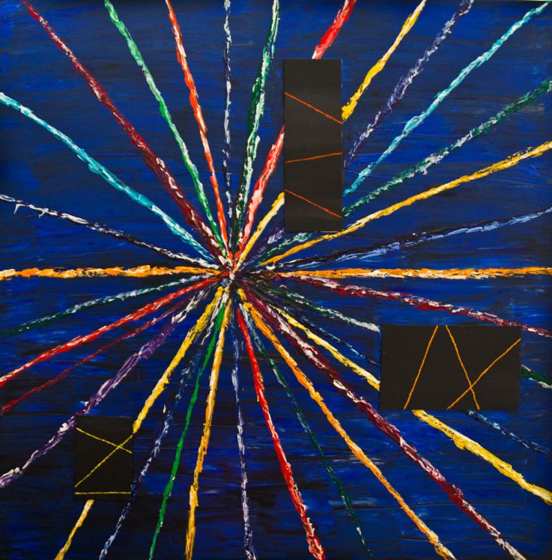"""Big Bang"" / acrylic- mixed media on cardboard and canvas – 100 x 100"